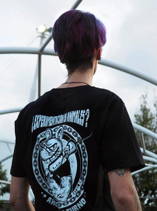 RATSLAB Camiseta estilo punky o de motero negra con serigrafía blanca. Camiseta de algodón orbánico a favor de los animales
