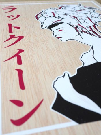 RATSLAB print-madera-serigrafiada-reina-rata-queen-japonesa-2